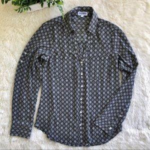 Express portofino black white gray button up shirt